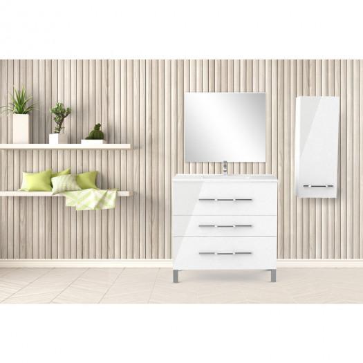 Ensemble meuble sous vasque 3 tiroirs 90 cm Blanc + colonne + miroir - LANA