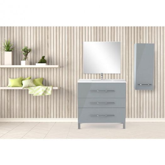 Ensemble meuble sous vasque 3 tiroirs 90 cm Gris clair + colonne + miroir - LANA