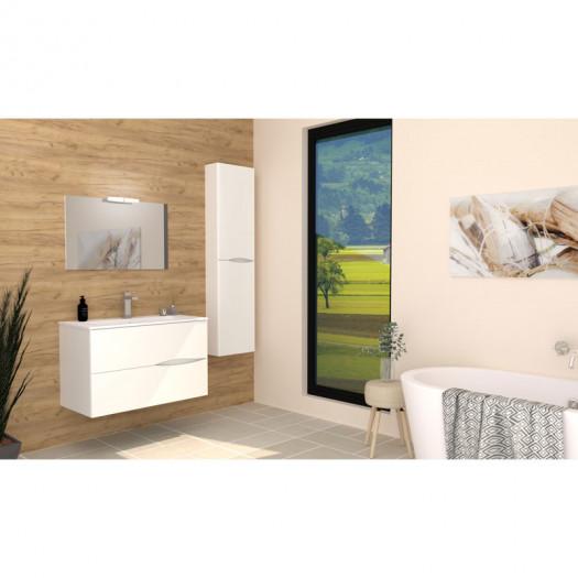 Ensemble meuble sous vasque suspendu 2 tiroirs 90 cm Blanc + Colonne + Miroir - BIDO