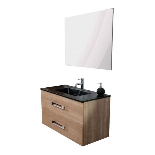 Meuble sous vasque suspendu 2 tiroirs 90 cm Bois + Miroir - CALEN