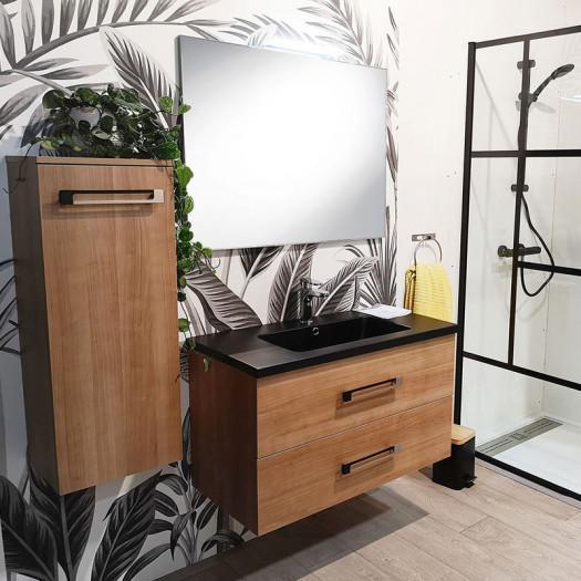 Ensemble meuble sous vasque suspendu 2 tiroirs 90 cm Bois + Miroir + Colonne - CALEN