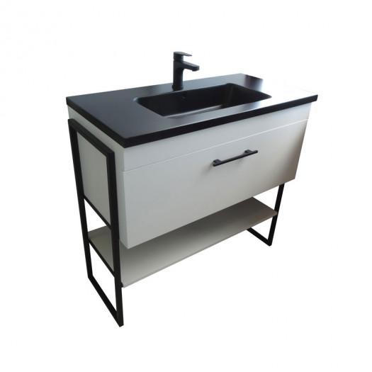 Meuble sous vasque 1 tiroir 90 cm Blanc - WANDA