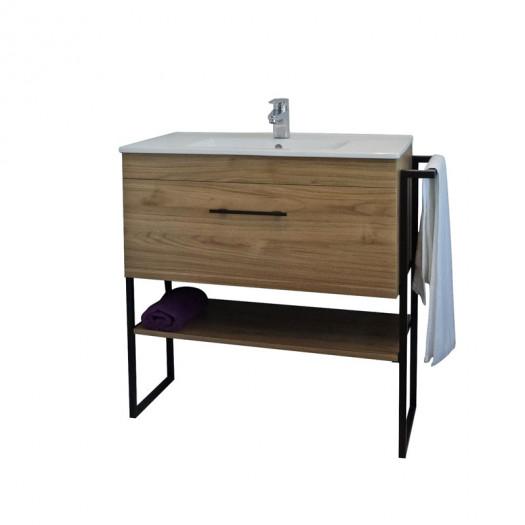 Meuble sous vasque 1 tiroir 90 cm Bois - WANDA