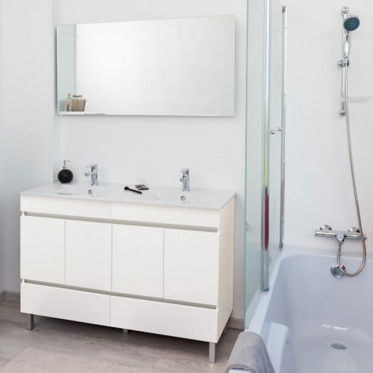 Meuble double vasque 2 tiroirs 4 portes 120 cm Blanc + Miroir - BOMBA