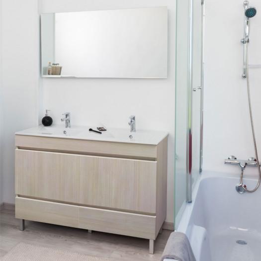 Meuble double vasque 2 tiroirs 4 portes 120 cm Bois + Miroir - BOMBA