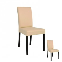 Duo de chaises Simili Cuir Beige - SANIO
