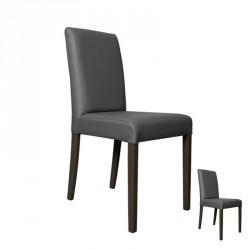 Duo de chaises Simili Cuir Gris - SANIO
