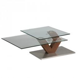 Table basse en verre et bois - BRACH
