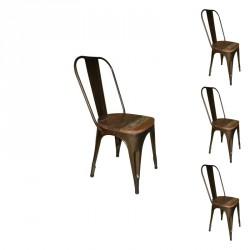 Quatuor de chaises Métal/Bois - BRAC