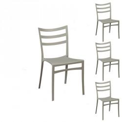 Quatuor de chaises Gris clair - YMA