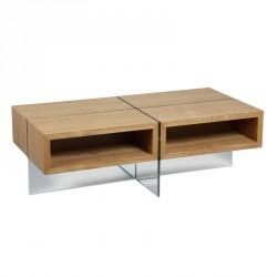 Table basse verre et bois - GROZ n°1